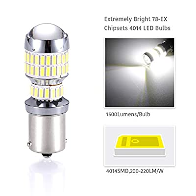 Newest Design -LUYED 2 X 1500 Lumens Extremely Bright 1156 4014 78-EX Chipsets 1156 1141 1003 7506 LED Bulbs Used For Backup Reverse Lights,Xenon White: Automotive