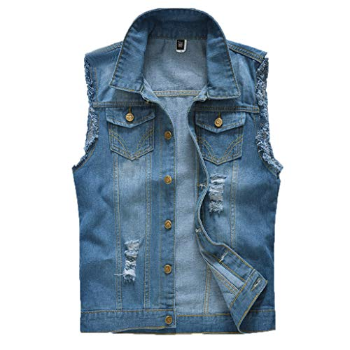 Huifa Men's Denim Vest Casual Cowboy Jacket in Shoulder Blouse Hot Top (A,L)