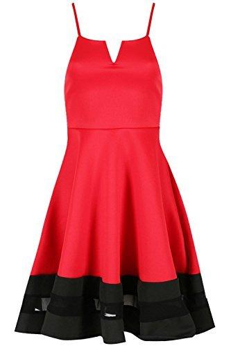 Be Jealous Damen Cami Netzeinsatz Contrast V Ausschnitt Riemchen Swing Skaterkleid Plus Größe EU 8-26 - Rot/schwarz, S/M (UK 8/10)
