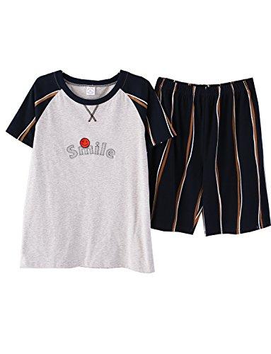 Big Boys Sweet Smile Striped Soft Cotton Pajama Sets Loungewear(10y-18y) ()
