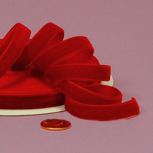 (Ship From USA) Red Velvet Ribbon, 3/8