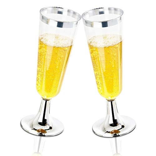 BUCLA 100 Pack Clear Plastic Champagne Flutes With Silver Rim- 5OZ Plastic Champagne Glasses- Premium Quality Clear…