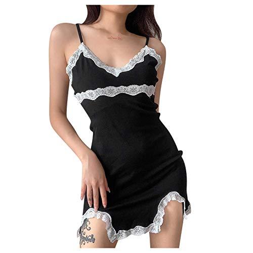 YUGHGH Women's Lace Camisole Dresses Sexy Deep V Neck Lingerie Patchwork Bodycon Mini Dress Fashion Black