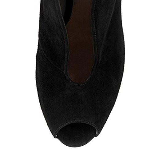 Mince Peep Aiweiyi Pour Femmes Chaussures Noir Aiguille Daim Casual Talon Bottines Haut À Des Pompes Bottes Talon De Toe BrInzqrZ