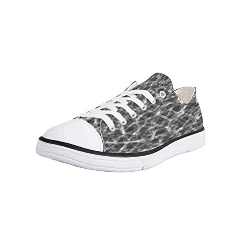 Canvas Sneaker Low Top Shoes,Grey Decor,Trippy Grunge Haze Digital Display with Fractal Pieces Parts Lines Contemporary Bents Women 10/Man 7 (Haze Deck)