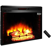 """ROVSUN 33"""" Recessed Electric Fireplace Insert FireBox 1500W 5200 BTU Heater Adjustable Flame Brightness with Remote Control, Two Side Built-In Wall Tiles Logs, CSA Certified SAFETY (Black)"""