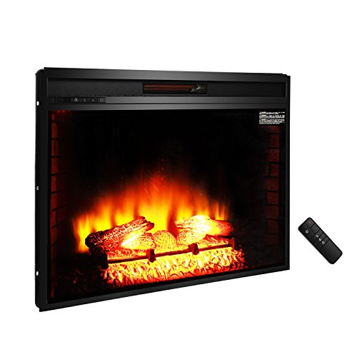 "ROVSUN 33"" Recessed Electric Fireplace Insert FireBox 1500W 5200 BTU Heater Adjustable Flame Brightness with Remote Control, Two Side Built-In Wall Tiles Logs, CSA Certified SAFETY (Black)"