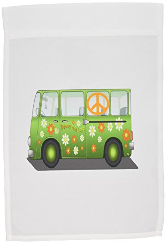 3dRose fl_100437_1 1960s Hippie Van with Peace Sign N Message Garden Flag, 12 by 18-Inch