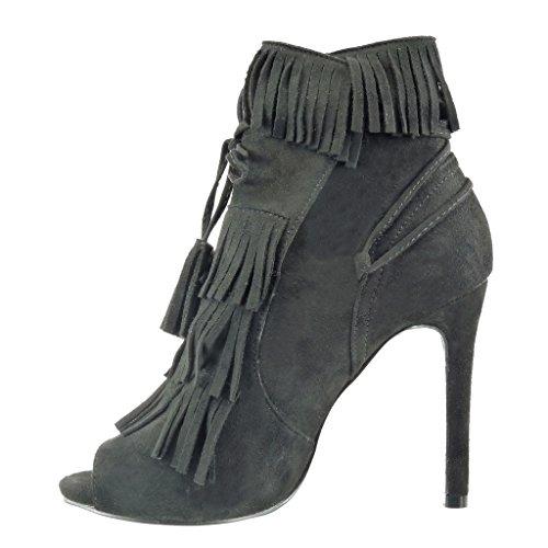 Angkorly - Chaussure Mode Bottine Escarpin stiletto ouverte femme frange pom-pom lacets Talon haut aiguille 11 CM - Noir