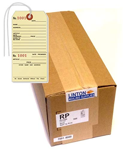 Repair Tag, Manila Cardstock (2.625'' x 5.25''), w Tear-Off Claim Check, Black Ink w Sequential Red Numbers, Reinforced Hole w String Attached - Box of 1,000 Tags by LINTON MAILING SUPPLIES