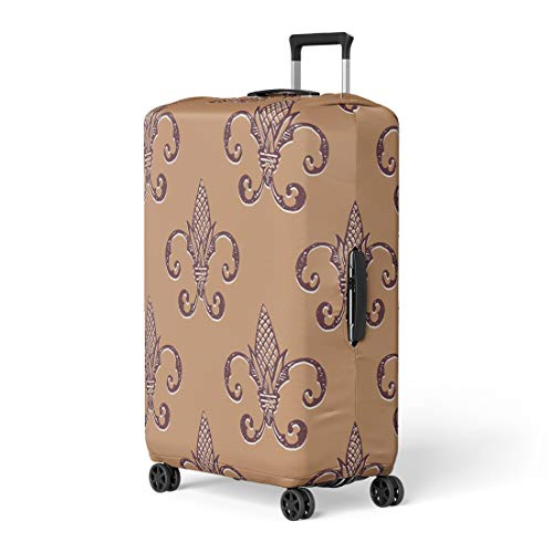 Antique Tawny Port - Semtomn Luggage Cover Brown Abstract Fleur De Lis Yellow Antique Beautiful Butterum Travel Suitcase Cover Protector Baggage Case Fits 18-22 Inch