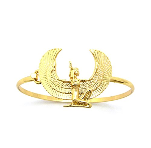 Ma'at Costume (Unisex Egyptian Collection Horus Bird, Ankh, Ma'at, Eye of Heru Piece 3mm Wire Bangle Cuff Bracelet in Gold Tone (Ma'at / XB432G))