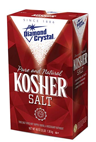 Diamond Crystal Kosher Salt – Full Flavor, No Additives and Less Sodium - Pure and Natural Since 1886-3 Pound Box
