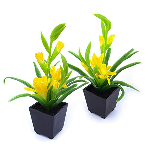 Yellow Pot Artificial (MaxFlowery Set of 2, Artificial Vivid Tuberose Plant with Yellow Blooms in Matt Black Pot, Duo Faux Potted Plants Greenery & Silk Flowers with Square Planter)
