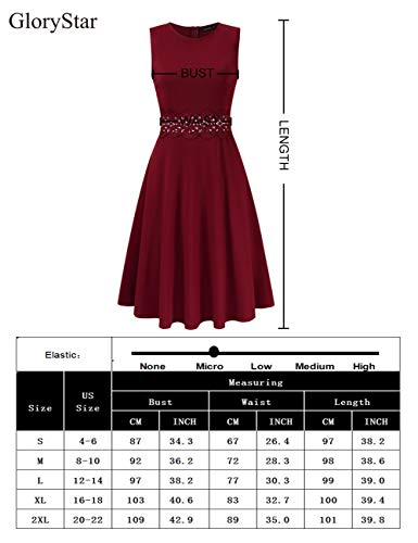 2a4de05603 GloryStar Women s Retro Cocktail Fit Flare Empire Waist Embroidery Wedding  Guest Dress for Party