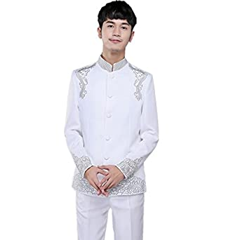 MYS Mens Classic Embroidery Chinese Tunic Suit and Pants ...