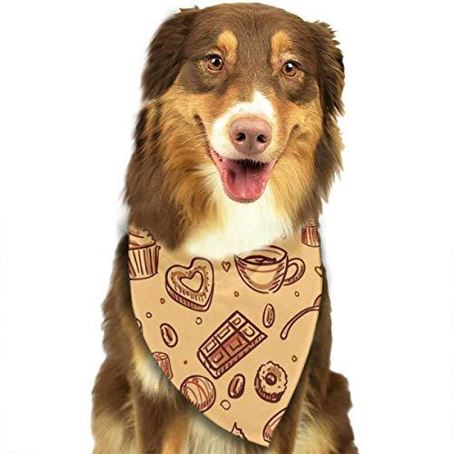 Han Jun Hua Dog Pets Bandana Scarf Chocolate Candy Pattern Triangle Bibs Eco-Friendly Printing Kerchief Set Dogs Cats Pet Decor Accessories