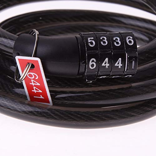 Wall of Dragon 4 Digital Code Password Lock Bicycle Lock Coiled Combination Cable Bicycle Cable 1200mm Mountain Bicycle Lock Safety Accessories by Wall of Dragon (Image #5)