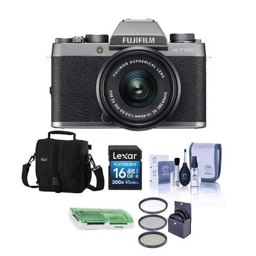 Fujifilm X-T100 Mirrorless Digital Camera, Silver with XC15-45mmF3.5-5.6 OIS PZ Lens - Bundle with Camera Case, 16GB SDHC Card, 52mm Filter Kit, Cleaning Kit, Card Reader