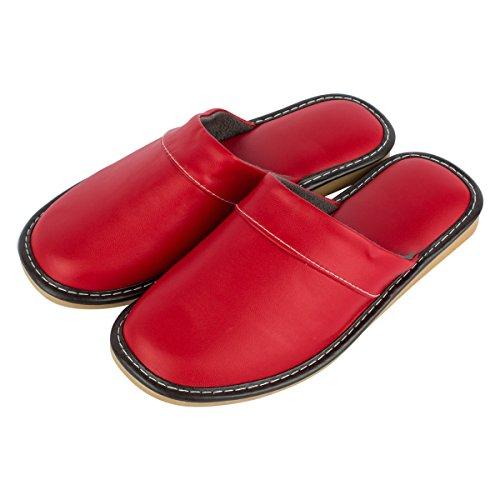 Haisum 8833-w - Zapatillas de estar por casa de Piel Sintética para mujer Red