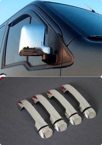 TRANSIT//TOURNEO CONNECT 2 piezas y tiradores de puerta de acero inoxidable, 4 puertas 2002-2009 Cubiertas de espejo cromadas de pl/ástico ABS cromadas