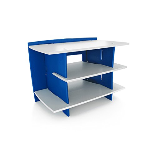 Kitchen Bookcase Legare (Legaré Kids Furniture Race Car Series Collection, No Tools Assembly Gaming Center Stand, Blue and White)
