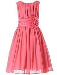 Bow Dream Little Girls Elegant Ruffle Chiffon Summer Flowers Girls Dresses