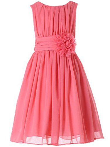 Bow Dream Little Girls Elegant Ruffle Chiffon Summer Flowers Girls Dresses Junior Bridesmaids Coral -