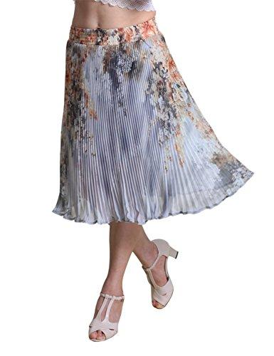 Relaxfeel de las mujeres de cintura alta con pliegues formal Midi falda plisada Gris claro