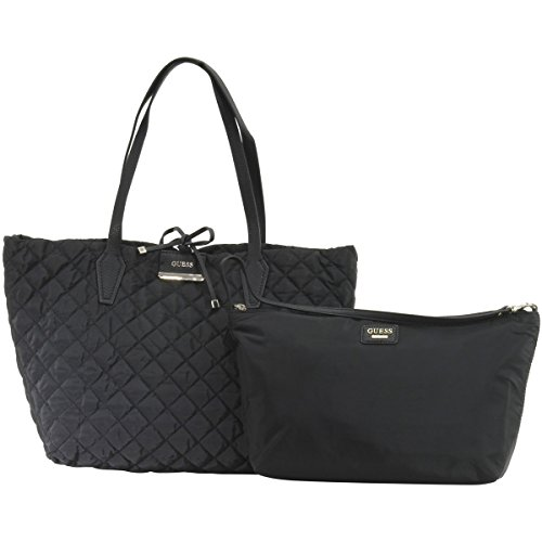 Guess Bobbi Inside-Out Large Reversible Black Quilted Tote Handbag Set
