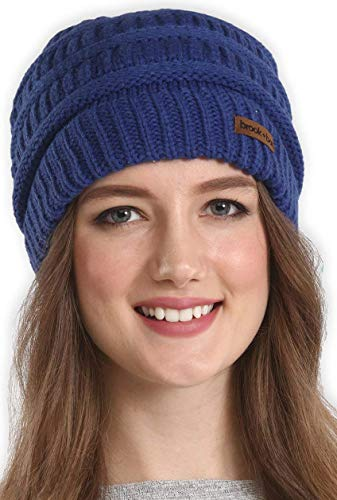 Navy Blue Slouch Hat - Brook + Bay Cable Knit Multicolored Beanie Stay Warm & Stylish This Winter - Thick, Soft & Chunky Beanie Hats Women & Men - Serious Beanies Serious Style (Navy Blue)