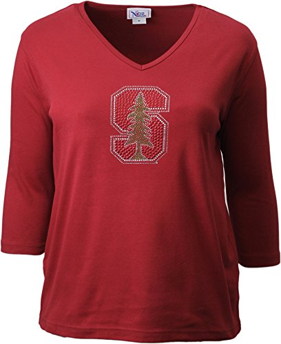 Nitro USA NCAA Stanford Cardinal Women's Collegiate Missy Fit 3/4 Sleeve V-Neck Rhinestone Bling Top, Medium, Dark Red