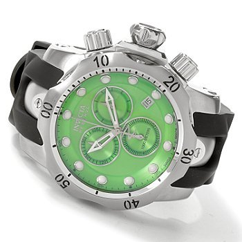 Invicta Men's 6105 Venom Reserve Chronograph Green Dial Black Polyurethane Watch Invicta Reserve Venom