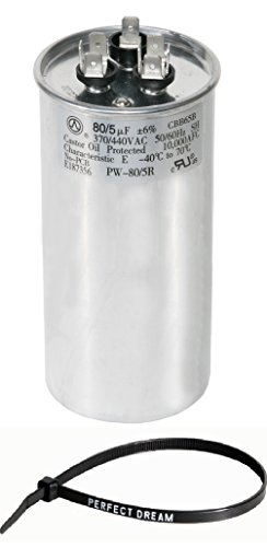 PowerWell 80+5 uf MFD 370 or 440 Volt Dual Run Round Capacitor Kit TP-CAP-80/5/440R Condenser Straight Cool/Heat Pump Air Conditioner and Zip (Eia Kit)