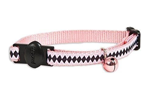 "Petmate Cat Posh Argyle Collar, 3/8"" x 8-12"", Black/White/Pink"