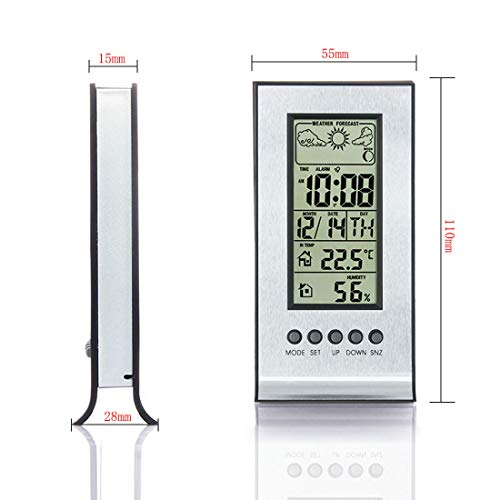 Price comparison product image BU-Beauty Desktop LCD Temperature and Humidity Meter Electronic Alarm Clock Calendar Home Temperature Monitor