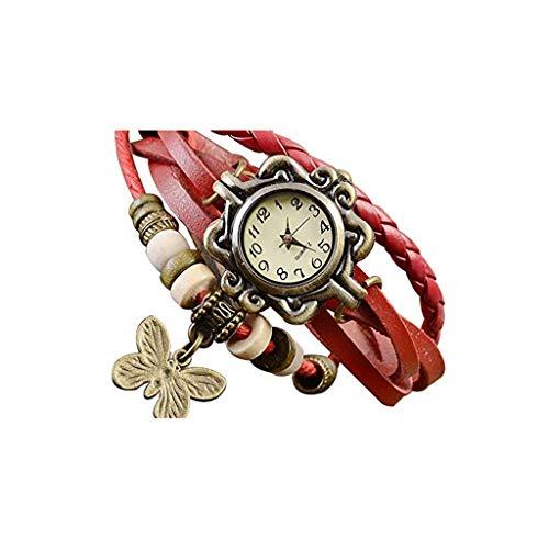 Triskye Lovers' Business Casual Classic Luxury Retro Weave Wrap Lady Bead Butterfly Dangle Bracelet Bangle Quartz Movement Wrist Watch for Lovers Drive Womens Bangle Style Watch