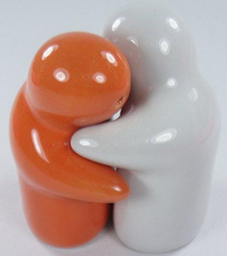 """Love and Hugs Salt & Pepper Shaker White and Orange Ceramic 3"""" (2 Pcs.)"""