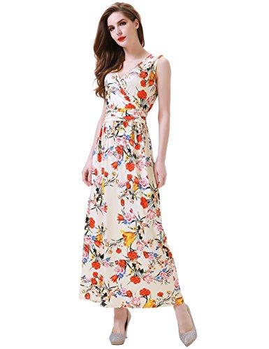 Aphratti Womens Bohemian Sleeveless Beach Sundress Empire Long Maxi Summer Dresses