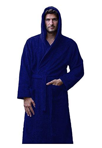 Bamboo Hooded Robe (Bamboo Adult Hooded Unisex Robe - Navy, SMALL / MEDIUM)