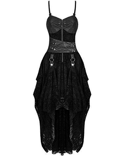 Punk Rave largo gótico Vestido Negro Piel Sintética steampunker Victoriano Con Flores Encaje - Negro,