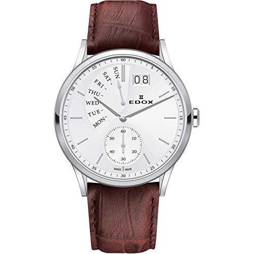 - Edox Men's Les Vauberts 42mm Brown Leather Band Steel Case Quartz Silver-Tone Dial Watch 34500 3 AIN