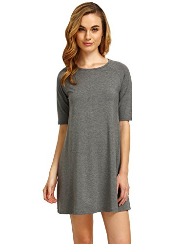 Kiki's Delivery Service Costume (ROMWE Women's Short Sleeve Casual Loose Fit T-Shirt Tunic Dress Swing Dress Grey XS)