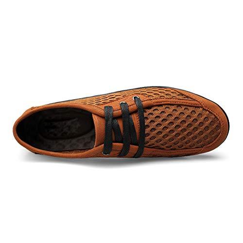 Malla Deportivos Hueco Al Colmena Hombres Zapatos Libre Manga De Brown Ayuda Los Casuales Cabeza Aire Baja Respirable Planos Antideslizante Redonda nU668f