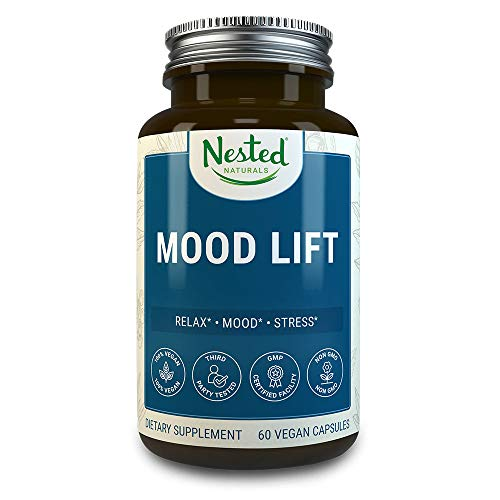 Mood Lift | Relaxation, Stress and Temporary Anxiety Relief Supplements | 60 Vegan Capsules | Naturally Sourced Ingredients | Serotonin Enhancer Complex Pills with 5-HTP, L-Methionine and Magnesium (Best Supplements For Relaxation)
