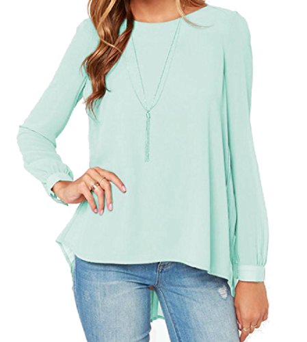 g Sleeve Round Neck Chiffon Tank Top Tees Top Light Green L (Draped Neck Tank)