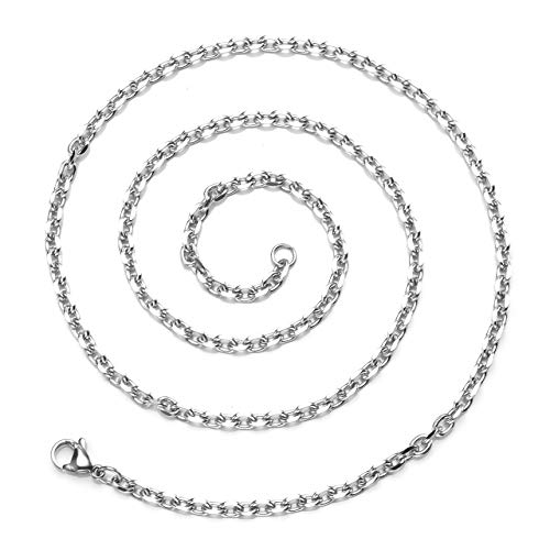 - Zysta 3mm Sturdy Nickel Free Stainless Steel 20 inch Lobster Clasp Trace Chain Necklace Women Men Neck Rope Cable Link Replacement Charms Pendant