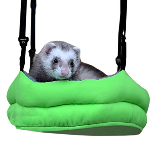 Ferret Hanging Pet Bed (Alfie Pet by Petoga Couture - Mikko Hanging Bed for Small Animals like Dwarf Hamster and Mouse - Color: Green)