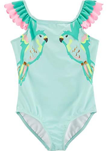 Carter's Girls' Heart One Piece Swimsuit (Turquoise/Bird, 4/5)