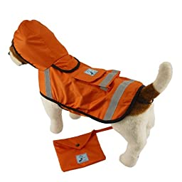 One for Pets Safety Hooded Raincoats, 16-Inch, Orange Red